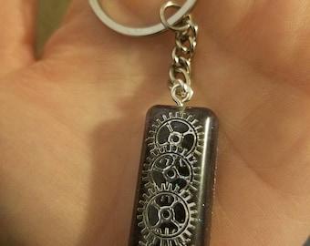 Gear & Black Glitter Keychain