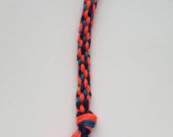 Hand plaited, Orange/Black & Blue, Handmade, Bag, Zip, Key decoration, Handmade, Designed, Lobster swivel clip, Gift, Treat, House warming.