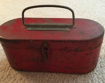 Red metal CHILDS tool holder/ Lunch Pail/ Sewing Box