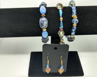 Blue glass and crystal bracelet and earrings jewelry set