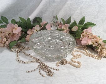 Candy Dish, Clear, Cut Glass by Anchor Hocking, EAPC