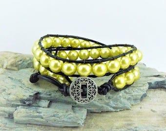 Yellow Wrap Bracelet, Leather Wrap, Wrap Bracelet, Boho Bracelet, Yellow Bracelet, Beaded Wrap Bracelet, Yellow Pearl Bracelet, Gypsy Wrap