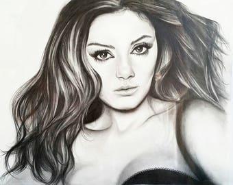 Mila Kunis. Original, Hand Drawn Celebrity Actress Sketch. Graphite Pencil, Home Decor Gift.