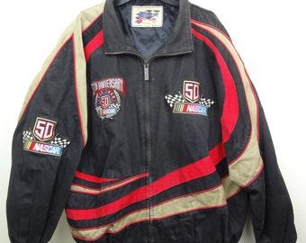 Vintage 90s NASCAR 50th Anniversary Mens Racing Jacket Coat Embroidered Zip XXL
