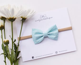 Mint Seersucker Bow | Blue Easter Bow, Baby Headband Set, newborn hair bows, kids easter outfit, small hair bows, newborn headband bows