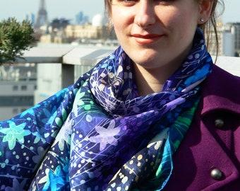 Silk Scarf, Summer scarf, Handpainted Silk Square, Foulard en Soie, Carré de Soie, Multicolour, Soie, Gift For Her,Batik, Multicouleur, chic