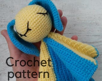 Crochet pattern baby toy PDF pattern only Security blanket pattern Rabbit crochet pattern Baby security blanket Instant download baby