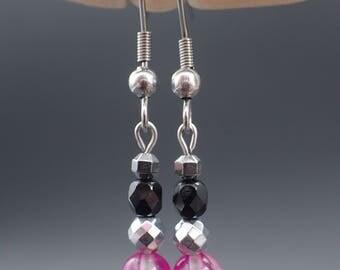 Earrings Mountain crystal, earrings quartz, stainless steel earrings, jewelry stainless steel, jewelry earrings beads, hematite earrings, pink earrings