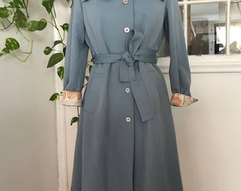 Vintage 60's Womens Baby Blue Sateen Cotton Trench Coat with Art Deco Conversational Print Lining  Size 6 /8 Small Medium Spring Jacket