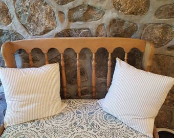 Designer Bench Cushion Cover Kravet Fabric Blue Taupe Beige Wt Matching  Piping Zipper Indoor (Window