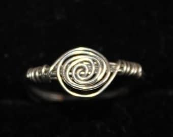 Silver Swirl Ring Size 5