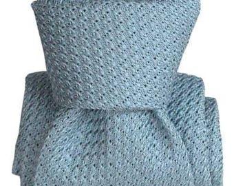 Pale Blue Grenadine Italian Men's Tie, summer tie, wedding tie, jacquard, baby blue, sky blue