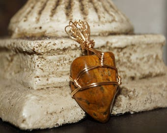 Tigers eye Wire Wrap Crystal Necklace