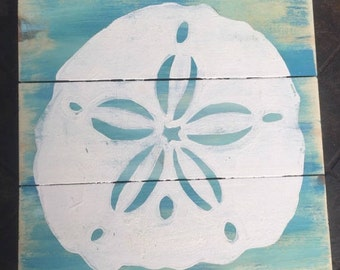 Sand dollar Art, Beach Pallet Art, Beach art, Marine wood art, Coastal Decor