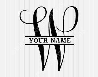 W Split Monogram SVG - Split letter W Svg - Divided Initial Svg - INSTANT DOWNLOAD - 1-Dxf, Eps, Pdf, Png, Svg - Cricut - Silhouette
