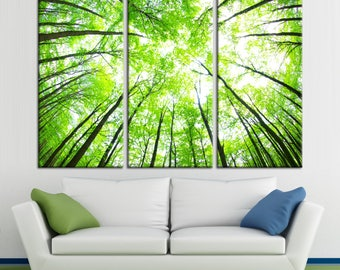 Green forest and the sun in the trees Large Photoprint Multi Panel Canvas Print, Nature Wall Art Decoration Extra Large Print Ready to Hang