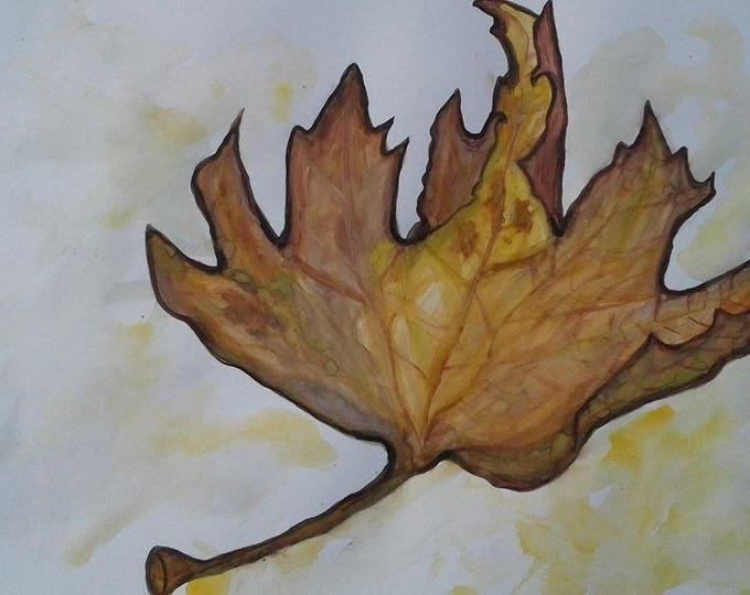 Watercolor Painting,Dried Leaf,Leaf,Autumn,Autumn Painting,Art,original painting,original art,leaf painting,watercolor art,hand painted leaf