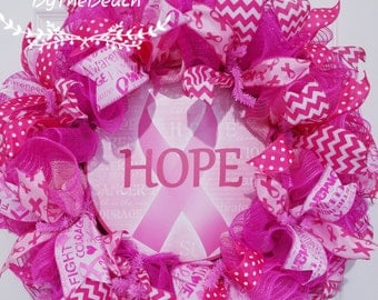 Breast cancer wreath - Breast cancer awareness wreath - Hope wreath - Cancer wreath for front door - Pink breast cancer - Pink fall wreath