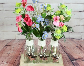 Country Garden Artificial Flower Arrangement in Bottles with Tray