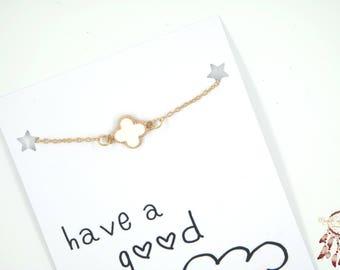 Clover bracelet | clover gold bracelet, shamrock, four leaf, luck, minimalist bracelet, gift for her, quote card, friendship bracelets, gift