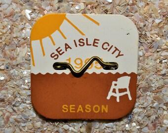 """1995 Canvas Print 14""""x14"""" Sea Isle City beach tag"""