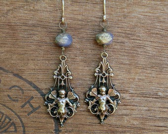 Ornate Baroque Style Fairy Winged Cherub Earrings French Brass Antique Vintage Style