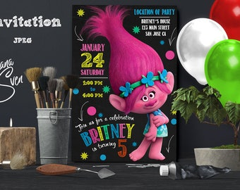 Trolls Birthday Invitation, Trolls invitation, Trolls Digital Invitation, Trolls Party, Trolls poppy, Trolls, Trolls invitations