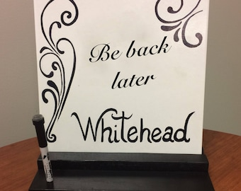 Ceramic Tile Dry Erase Message Board with Stand and Pen Holder