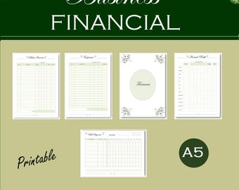 A5 business finance planner, sales, expenses tracker, bill checklist, annual income, business printable bundle, instant download a5 pdf