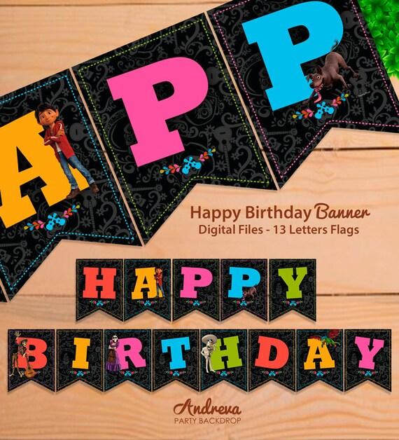 Coco Movie Birthday Banner Coco Disney Party Decorations