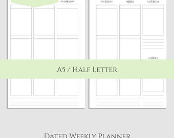 "2018 Dated Weekly Vertical Printable Planner Inserts, WO2P Vertical Layout with Boxes ~ A5 / 5.5"" x 8.5"" Instant Download (WVB)"