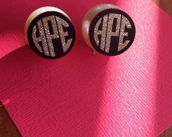 Acrylic Pearl Back Monogram Earrings, Monogram Earrings, Pearl Earrings, Colorful Earrings, Preppy, Monogram