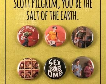 "Scott Pilgrim Vs. the World Set of 6 -1"" Pinback Buttons"