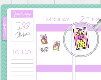 Buy Lotto Tickets Stickers, Planner Stickers, Scratch Off Ticket Stickers, Calendar Sticker, Small Kawaii Stickers, Labels