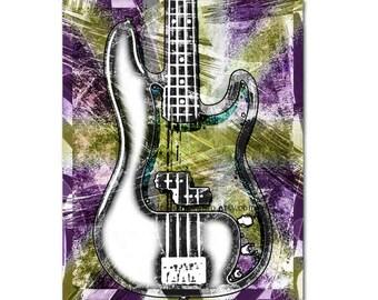Bass Guitar, Bass Player, Bass Guitar Art, Guitar Decor, Office Music Art, Bass Print, Bass Guitar Player, Bass Musician, Guitar Room Wall