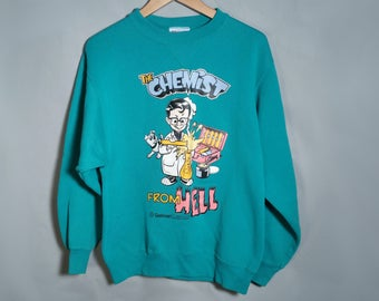 90s Chemist From Hell Teal Novelty Sweatshirt Sz Medium Large Humor Funny Science STEM Scientist Chemistry Streetwear Graphic 1990s Gelman