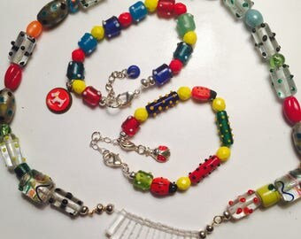 Polka dots! Vintage Glass polka dot primary color beads Necklace and Bracelets