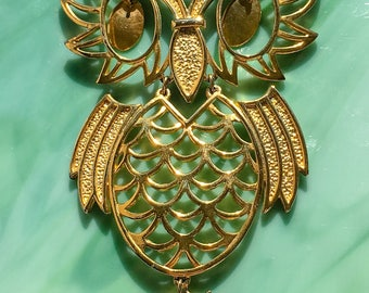 Animal Jewelry | Gold Owl Pendant | Owl Necklace | Nature Jewelry | Owl Jewelry | Bird Jewelry | Gift for Her | Vintage Jewelry