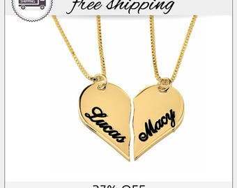 27% Off - Personalized Couples Breakable Heart Name Necklace, Heart Necklaces in Gold Plating, Set For Couple, Love, Valentine's Day, GN1202
