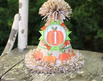 Pumpkin Birthday Party Hat  - Pumpkin Patch Fall First Birthday Party Hat -  Little Pumpkin First Birthday - Boy Birthday - Orange & Green