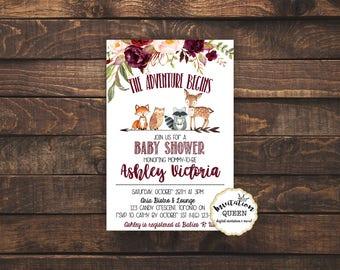 Woodland Baby Shower Invitation woodland baby shower invitation babyshower forest animal invitation girl baby shower printable invitation