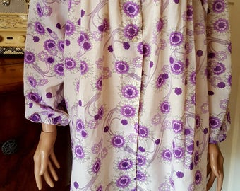 1970s White Cotton Floral Festival Smock Top With Purple Floral Detail Bell Sleeves