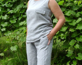 Women's Linen Set Blues and Pants with Pocket