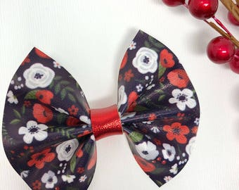 christmas floral bow   winter holiday bow   girls hair bow   babys first christmas bow   girls hair clip   newborn bows   stocking stuffers