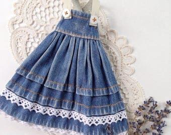 Denim sundress Blythe - Denim sundress  - Blythe clothes - Blythe - Blythe outfit - sundress