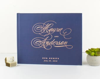 Navy Wedding Guest Book Rose Gold, Elegant Wedding Guest Book Wedding, Rose Gold Wedding Guest Book, Custom Wedding Guest Book Navy