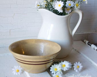 Tiny Antique Yellow Ware Bowl - Brown Bands - 5 inch - Early Primitive -