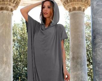 Dark grey dress, Maxi Dress, Plus size, Charcoal dress, Trendy maxi dresses, Asymmetric top, Homecoming dress, Infinity dress, Markiiza