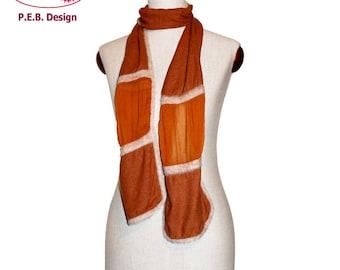 Silk-scarf Cognac-creme, nuno-scarf, felt-scarf, silk, bourette, wool