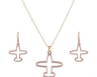 Plane Jewelry Set,Aeroplane Jewelry Set,Gold Plane Necklace And Earring Set,Gold Plane Necklace,Gold Plane Earrings,